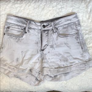 Grey and white denim shorts- soft and stretchy